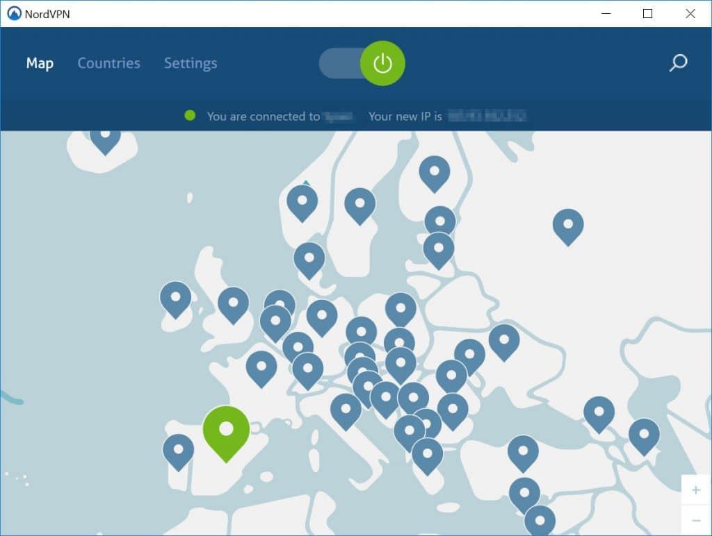 NordVPN mapa Europy