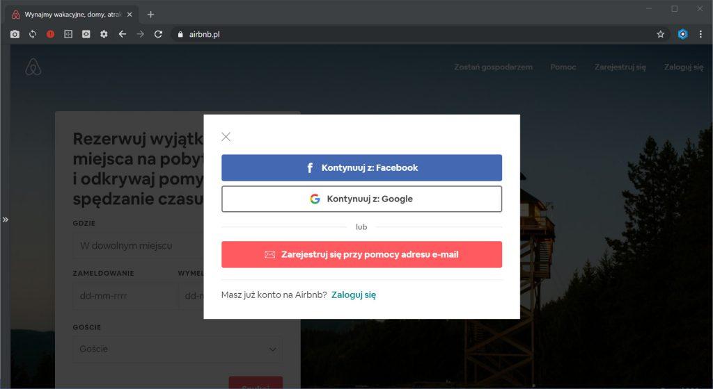 Rejestracja na platformie Airbnb