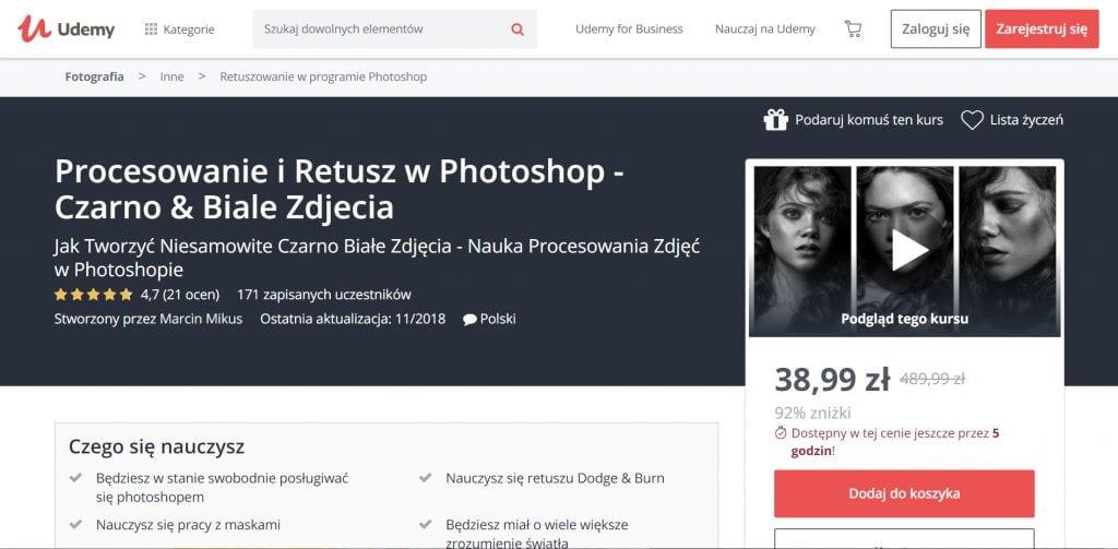 Udemy - kurs procesowanie i retusz w Photoshop