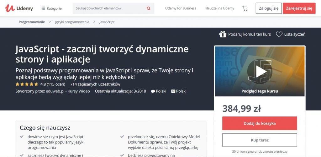 Udemy - kurs JavaScript - dynamiczne strony i aplikacje
