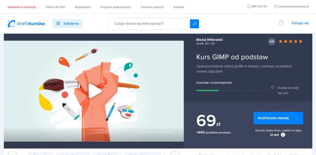 Kurs GIMP od podstaw na Strefie Kursów